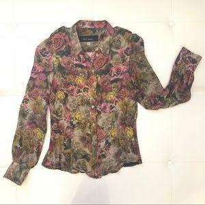 PAUL SMITH Flower Pattern Silk Blouse Sz 42